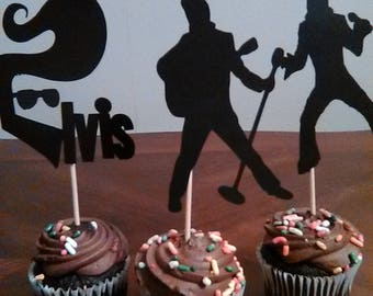Elvis Cupcake Toppers, Elvis Decoration, Elvis Party, The King, 12 toppers in a set, mix and match