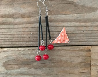 long dangle red and black earrings