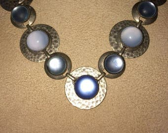 Moonstone, Blue Agate, Chalcedony Hammered Silver Link & Disk Choker