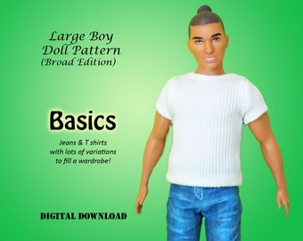 Pants and Shirt doll clothes patterns for Large Broad Boys: Ken, fashionista