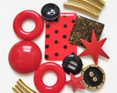 destash of red black and gold salvaged jewelry components and buttons for creating jazzy assemblages and ooak designs--mixed lot of 15