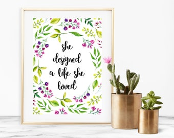 She Designed a Life She Loved Quote Printable Download Purple Florals - 5 x 7 inches