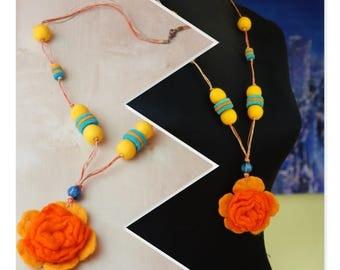 Pom Pom Necklace, Felt Ball Necklace, Felt Necklace, Necklace, Felt Flower Necklace, Boho Necklace, Felt Jewelry, Wool Ball Necklace,