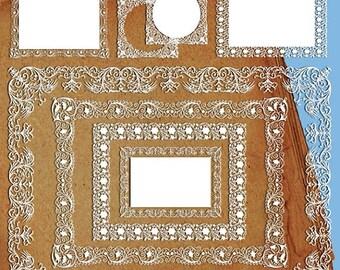 Sale 60% Digital Scrapbook wedding clip art Frames Lace Digital Shabby chic wedding white lace
