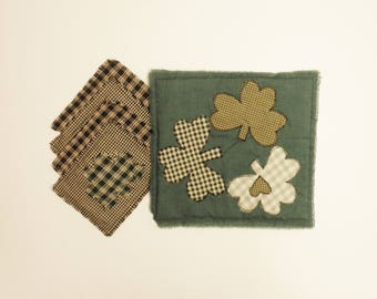 St. Patrick's Day Raggedy Place Mat and Coaster Set, Spring Decor, St. Patrick's Day Decor, Primitive Decor, Country Farmhouse Decor