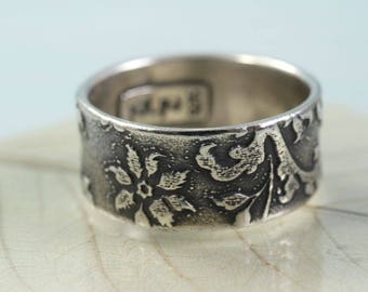 Wide Sterling Band Ring - Old English Engraved Flower Pattern - Your Size