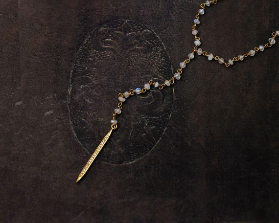 Diamond and Moonstone Y Necklace. Pave DiamondnNecklace. Diamond Spike. Dagger or Quill Necklace. Rosary Style.  NY2346.