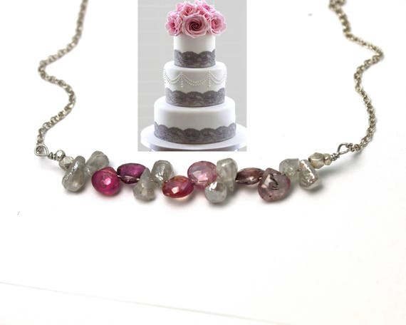 Bridesmaid Gifts. Wedding Color Match Service. Pink Spinel and Labradorite Necklace. Multi Gemstone Necklaces.  N2393