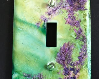 Lime Green and Purple & Teal  w/ Ferny Leaves or Pine Needles- Handpainted Switch Plate