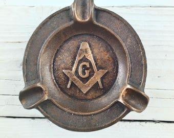 Solid Brass/Bronze ~ MASONIC ~ Cigar /Cigarette Ashtray ~ G Center ~ Very Vintage Smoking Tobaccoania  Collectable / Fraternal Freemason