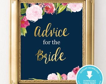 Navy and gold wedding Sign - navy and gold bridal shower - advice for the bride sign - wedding decor - bridal shower decoration