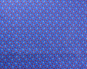 Vintage Cotton Fabric, Tiny Print Fabric, Cotton Floral Fabric by the Yard, Cotton Fabric, Red White Blue Fabric - 1 Yard + - CFL2544A