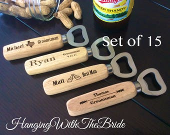Set of 15 Personalized Bottle Opener, Groomsmen Gift, Wedding Gift, Engraved Wood opener, Custom Bottle Opener, Christmas gifts
