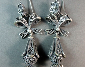 FEDERICO JIMENEZ~Spanish Colonial~Iguala Style~Oxidized 925 Filigree~Dangle Earrings~Free Shipping