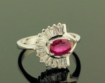 Ruby Topaz Ring // 925 Sterling Silver // Ring Size 7.5 // Handmade Jewelry