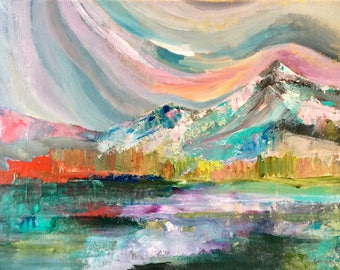 Rainbow Day, 11 x 14 inches original acrylic painting on standard canvas, optional resin finish, colourful mountain landscape
