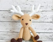 Christmas In July Sale Daryl the Deer, Crochet Deer Stuffed Animal, Deer Amigurumi, Plush Animal, Made to Order