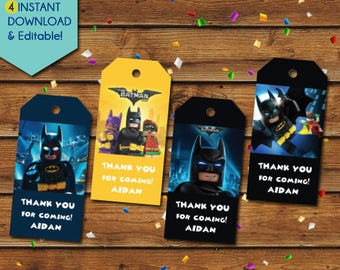 Lego Batman Thank You Tags,  Lego Batman Party Favors, Lego Batman Favor Tags, Lego Batman Birthday Tags, Lego Batman Party Tags, Gift Tags