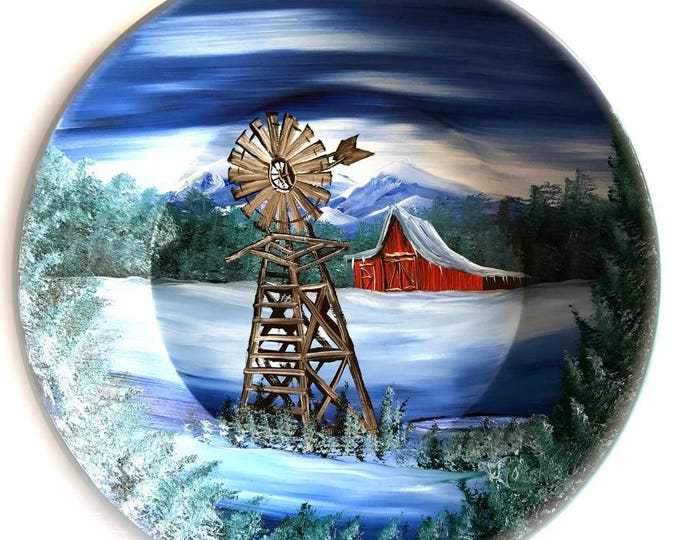 Hand Painted 11 Inch Gold Pans Mountain Winter Windmill