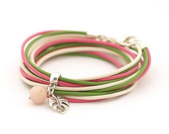 Monstera Palm Leaf Bracelet, Green Rose Wrap Bracelet, Botanical Hippie Bracelet, Tropical Leaf bracelet, Jade game bracelet, summer trends