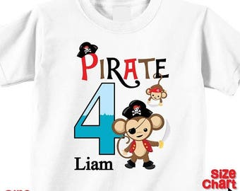 SALE Personalized Pirate Monkeys Birthday Party Shirt T-shirt Bodysuit Cute Sea Ocean Pirate Monkey Ship Skull and Crossbones Pretend Dress