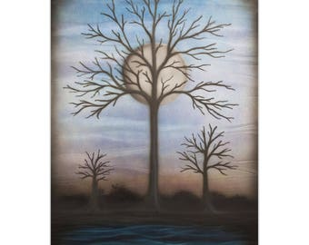 Contemporary Wall Art 'Full Moon' by Nicholas Yust - Bare Trees Decor Modern Midnight Artwork on Metal or Plexiglass