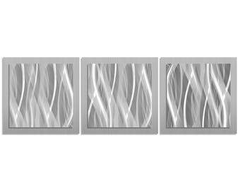 Metal Wall Art 'Metallic Essence' - 38x12 in. - Silver Color Metal Artwork. Minimalistic Decor, Contemporary Art Design