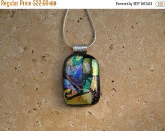 Christmas in July Sale Fused Dichroic Glass Pendant - BHS01407