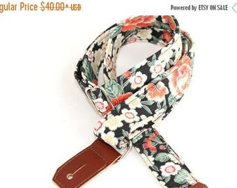 ON SALE this week only Ukulele Strap in Moonlit Hawaii - White Flowers with Silver and Peach