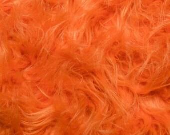 Fun Gorilla Solid Long Pile Faux Fur 58 Inch Orange Fabric by the Yard, 1 yard