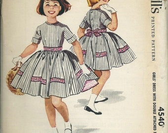 ON SALE 1950s McCall's 4540 Sewing Pattern Girls Dress with Double Attached Petticoat, Size 10 UNCUT