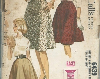 ON SALE VTG McCall's 6439  1960s Women's Waist Size 36, Gored Flared Set of Skirts Pattern, Uncut