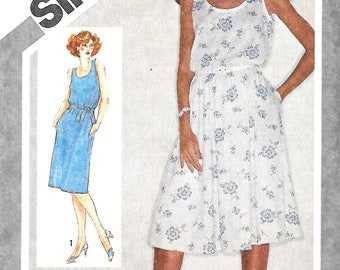 Simplicity 9896 Misses Sleeveless Pullover Dress WithSlim Or Full Skirt Sewing Pattern, Size 10, 12 & 14, UNCUT