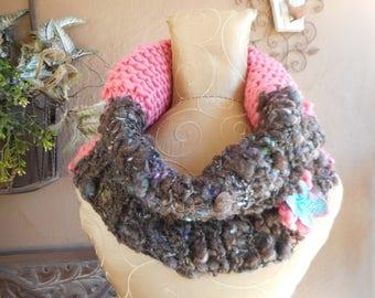 Hand Knit Cowl, Art Yarn Cowl, Hand Knit Art Yarn Cowl, Hand Knit Infinity Art Yarn Scarf