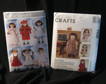 Lot of two 18 inch Doll Clothes Patterns, historical and retro styles, McCall's 7435 and Butterick 5589, dresses, coats and hats, nightwear