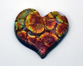 Dichroic Mosaic Heart Tile, Dichroic Cabochon, 35 mm x 36 mm, Handmade Cab, Jewelry Cabochon, Glass Tile, Copper Tile