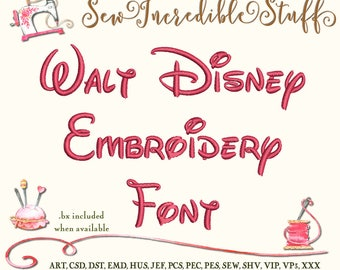 Disney  Machine Embroidery Font,  Upper Case, Lower Case, Numerals & Symbols