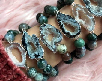 AGATE + FANCY JASPER  // Stretch bracelet // stacking bracelet // gemstone jewelry
