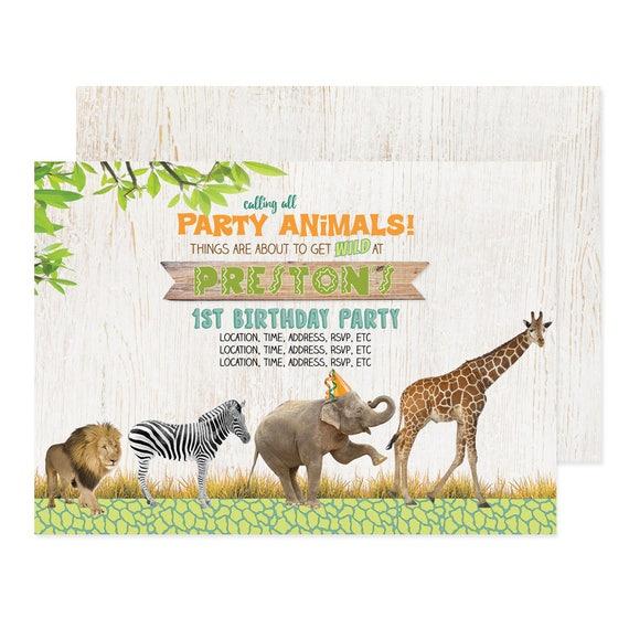 Zoo birthday invitations boy jungle party invite zoo animal il570xn stopboris Images