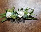 Bridal Hair comb, Hair comb,  floral hair comb, woodland hair piece, silk flower comb, Hair Accessories, succulent hair comb, ready to go,