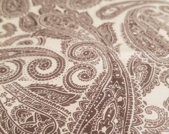 Light Tan with Brown Paisley Print Fabric - 36x43/44 - 1 Yard - Boho Quilting, Taupe, Chocolate Paislies, Floral, Western, Cowboy