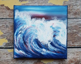 "Ocean Canvas Art | Wave Painting | Ocean Art | Beach Decor | 6x6 | ""Breaking"" 