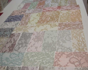 No. 300 Large Lot of French Solstiss Metallic Lace Sample Pieces (73 total)