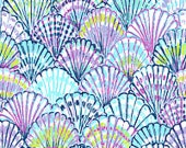 New Spring Blue Oh Shell O cotton dobby 9 X 18 or 18 X 18 inches  ~Lilly Pulitzer~