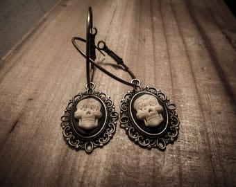 "Bronze earrings goth ""666 666 Calavera"""