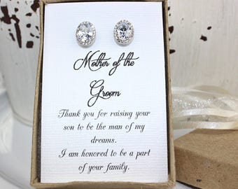 Mother of the Groom Gift Mother of the Groom Earrings Sterling Silver CZ Earrings Mother in Law Gift Free Personalization!!!!