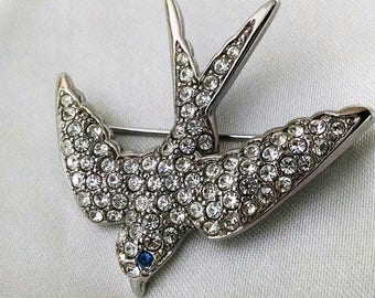 Brooch Vintage Bird Crystal Silver Smithsonian for Avon Signed Elegant Blue Crystal Eye Statement Gala, Evening, Wedding, Casual and More