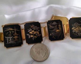 Bracelet Asian Big Bold Vintage Panel Links Damascene Style 24KT Gold Plated Etched Exquisite Condition Floral Landscape Theme Chunky Runway