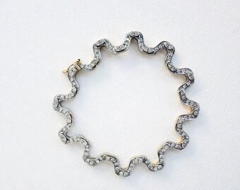 Vintage Ornate Diamond Link Bracelet in 14K Gold