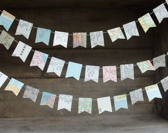 Atlas Garland, Map Garland, Map Bunting, Flag Garland, Paper Garland, Party Decoration, Flag Garland, TINY Flag Bunting, 10 feet long
